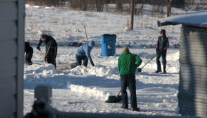 Shoveling!  (What else would one be doing in Minnesota?)