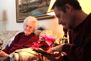 We were able to visit our special 100 year old Great-Grandma!  Here Dad sings her confirmation hymn to her in German.