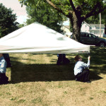 The guys setting up the tent on Friday.